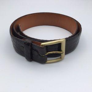 MENS DANBURY brown ALLIGATOR leather belt 32
